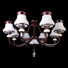Load image into Gallery viewer, Brown Chandelier With White Glass - 8 Light-Starry Night