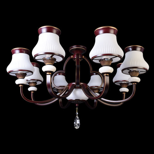 Brown Chandelier With White Glass - 8 Light