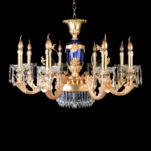 Elegance Blue Gold Chandelier With Crystals - 8 Lights