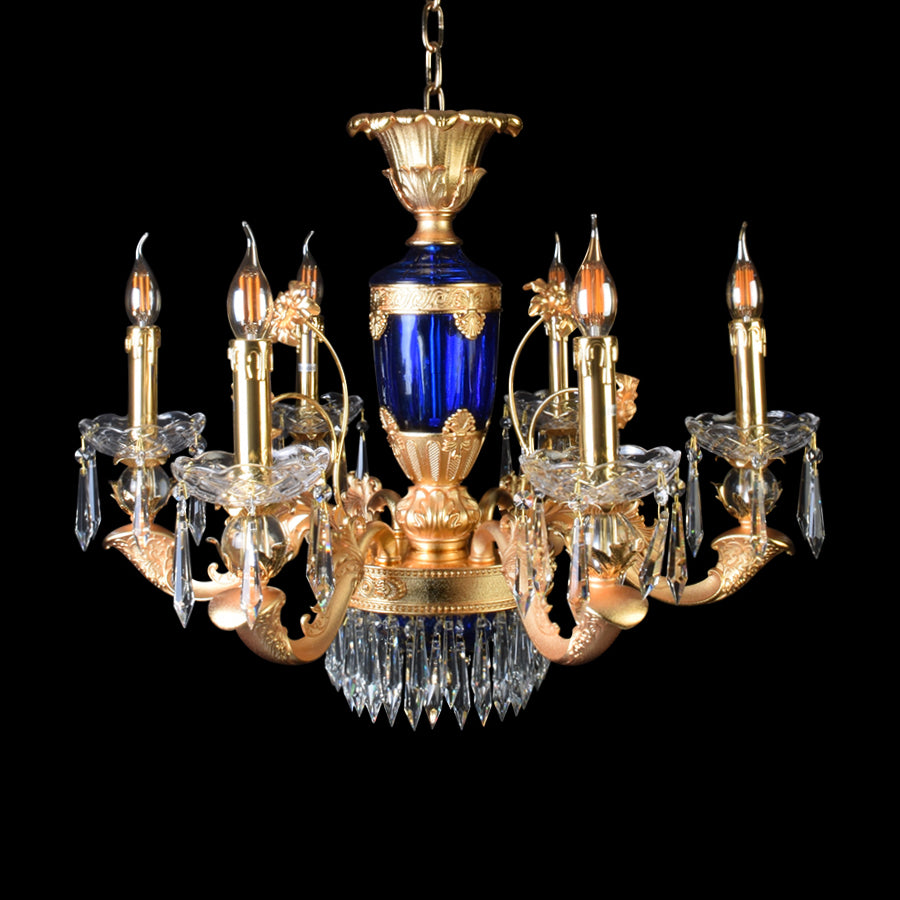 Elegance Blue Gold Chandelier With Crystals - 6 Lights-Starry Night