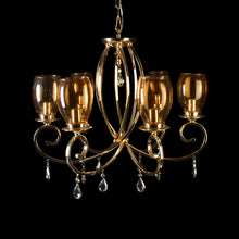 Load image into Gallery viewer, Romantic Gold Chandelier With Glass Shades - 6 Lights-Starry Night