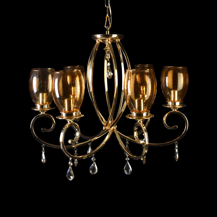 Romantic Gold Chandelier With Glass Shades - 6 Lights-Starry Night