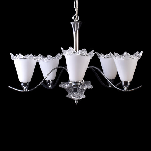White Crystal Chandelier - 5 Lights