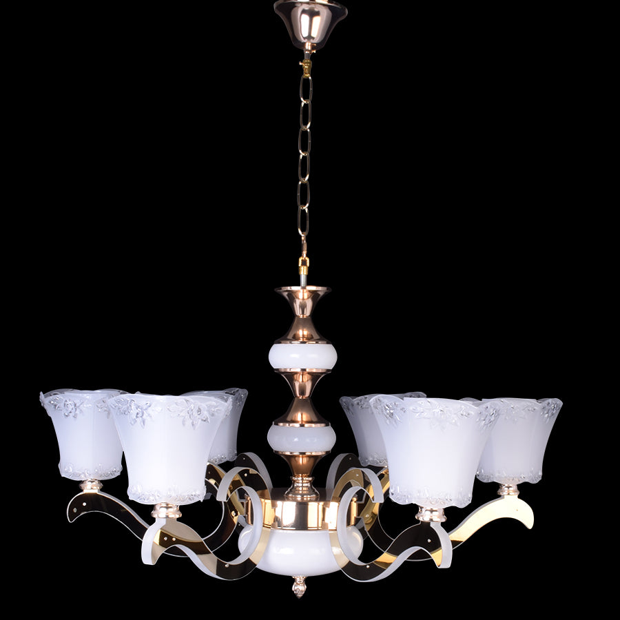 Gold Chandelier With White Glass - 6 Lights-Starry Night