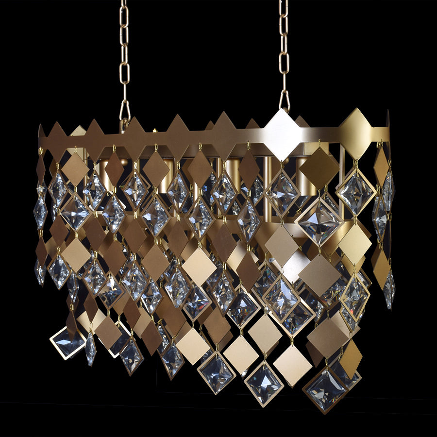 Modern Matt Gold Dining Chandelier With Crystals-Starry Night