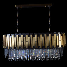 Load image into Gallery viewer, Rectangle Dining Chandelier Black With Gold Plates-Starry Night