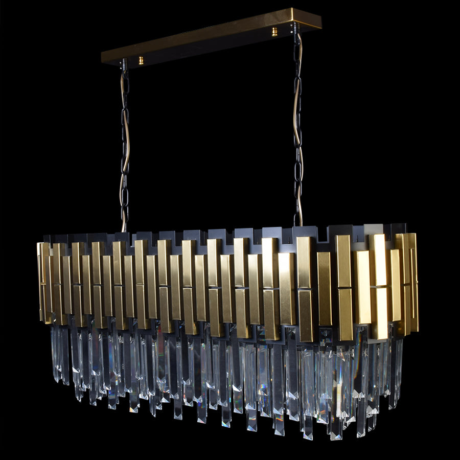 Rectangle Dining Chandelier Black With Gold Plates-Starry Night