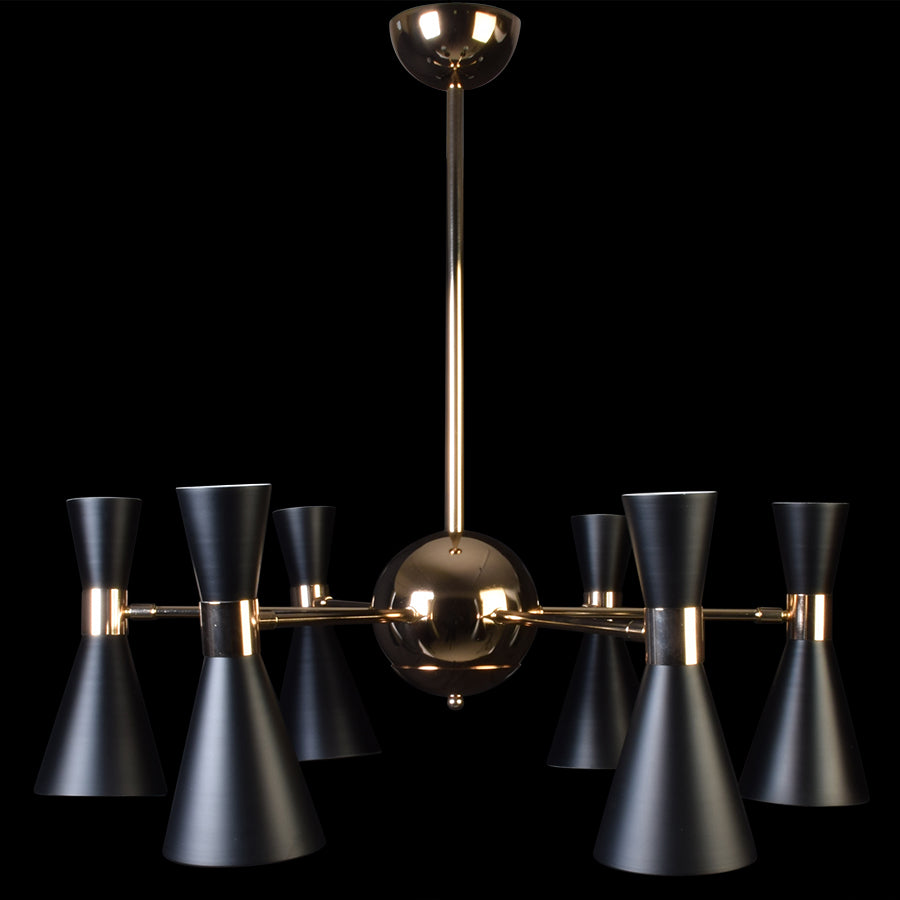 Urban Chandelier Black With Gold - 6 Lights