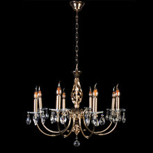 Load image into Gallery viewer, Gold Chandelier With Crystal - 8 Light
