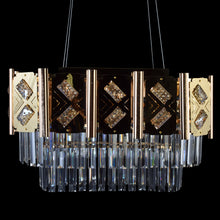 Load image into Gallery viewer, Rectangle Dining Chandelier Gold With Crystals