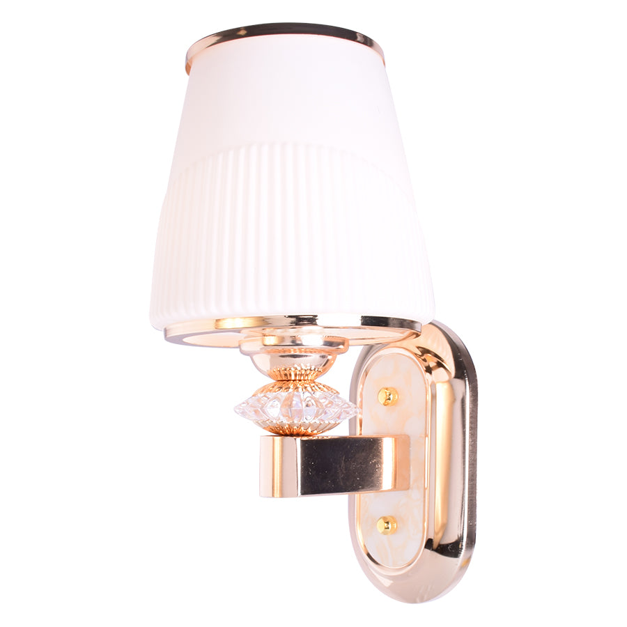 Golden Wall Light with White Glass Shade-Starry Night