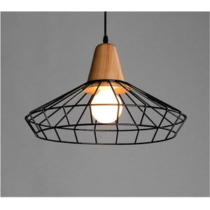 Metal Cage Pendant Light with Wood Base