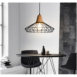 Metal Cage Pendant Light with Wood Base-Starry Night