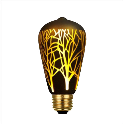 Black Decorative LED Bulb (Laser Design, Edison),Warm White