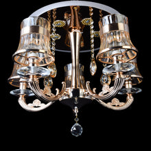 Load image into Gallery viewer, Gold Chandelier With Glass Shade - 5 Light-Starry Night
