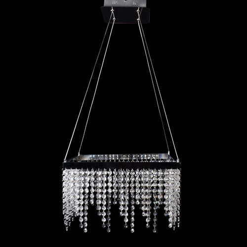 Square Chrome LED Chandelier With Crystal Droplets-Starry Night