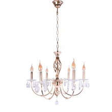 Load image into Gallery viewer, Gold Chandelier With Crystal - 6 Light-Starry Night