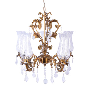 Antique Gold Crystal Chandelier - 5 Light-Starry Night