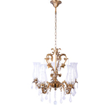 Load image into Gallery viewer, Antique Gold Crystal Chandelier - 5 Light-Starry Night
