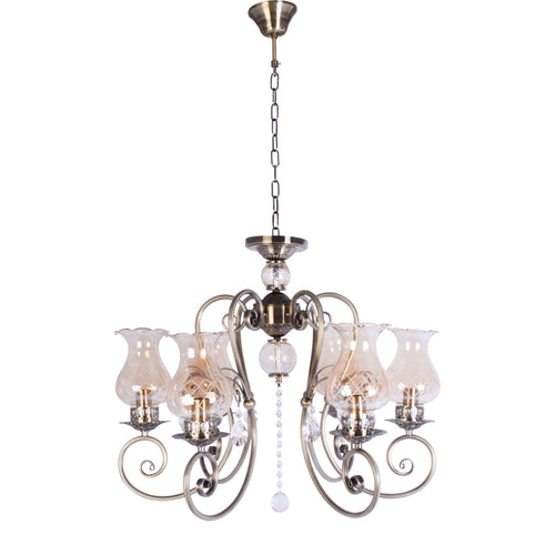 Bronze Elegant Chandelier With Glass Shades - 6 Light-Starry Night