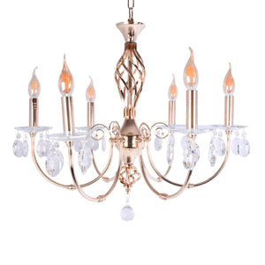 Gold Chandelier With Crystal - 6 Light-Starry Night