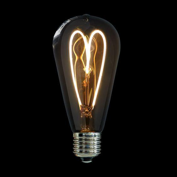 4 Watt Heart Shape Filament Edison LED (Warm White, 140x64 mm)