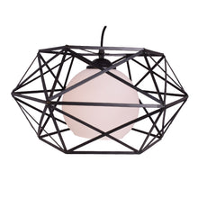Load image into Gallery viewer, Pendant Light Black Metal with White Glass
