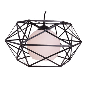 Pendant Light Black Metal with White Glass