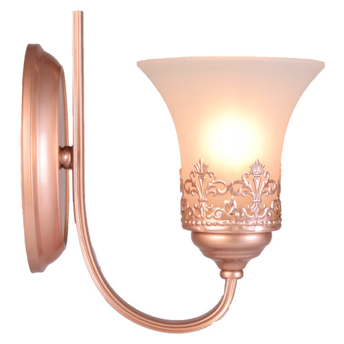 Wall Light Rose Gold with Frosted Glass Shade, E27