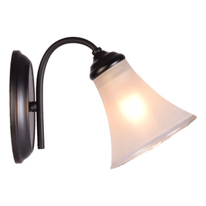 Black Wall Light with Frosted Glass Shade, E27