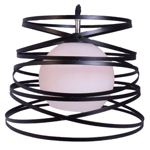 Modern Pendant Light Metal Cage with Glass Shade