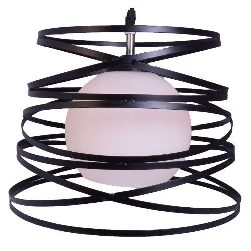 Modern Pendant Light Metal Cage with Glass Shade-Starry Night