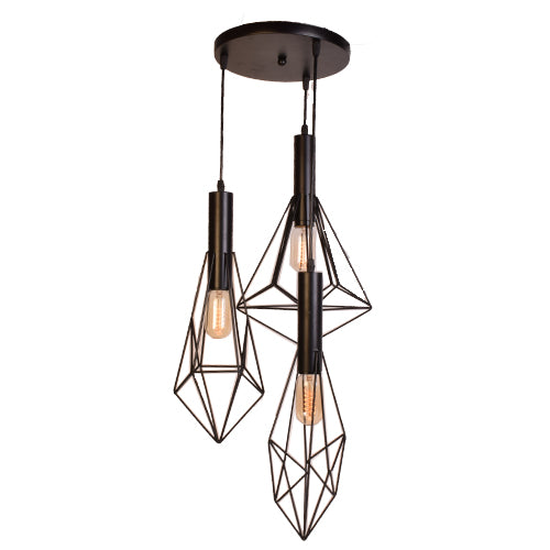 Ceiling Pendant 3 Light Stainless Steel Lamp (Black, 40 watts)