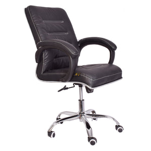 Starry Night Classic Leather-Padded Mid-Back Office Chair with Armrest - Black