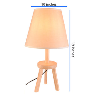 Light Brown Tripod Table Lamp Bedside Lamp with Shade, E27