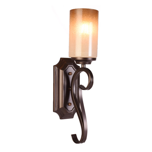 Black Wall Light with Candle Look Glass Shade, E27