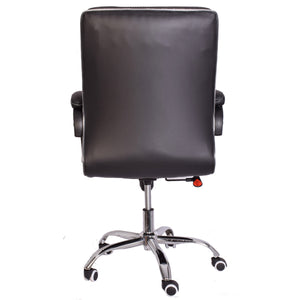 Classic Leather-Padded Mid-Back Office Chair with Armrest - Black