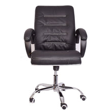 Load image into Gallery viewer, Classic Leather-Padded Mid-Back Office Chair with Armrest - Black