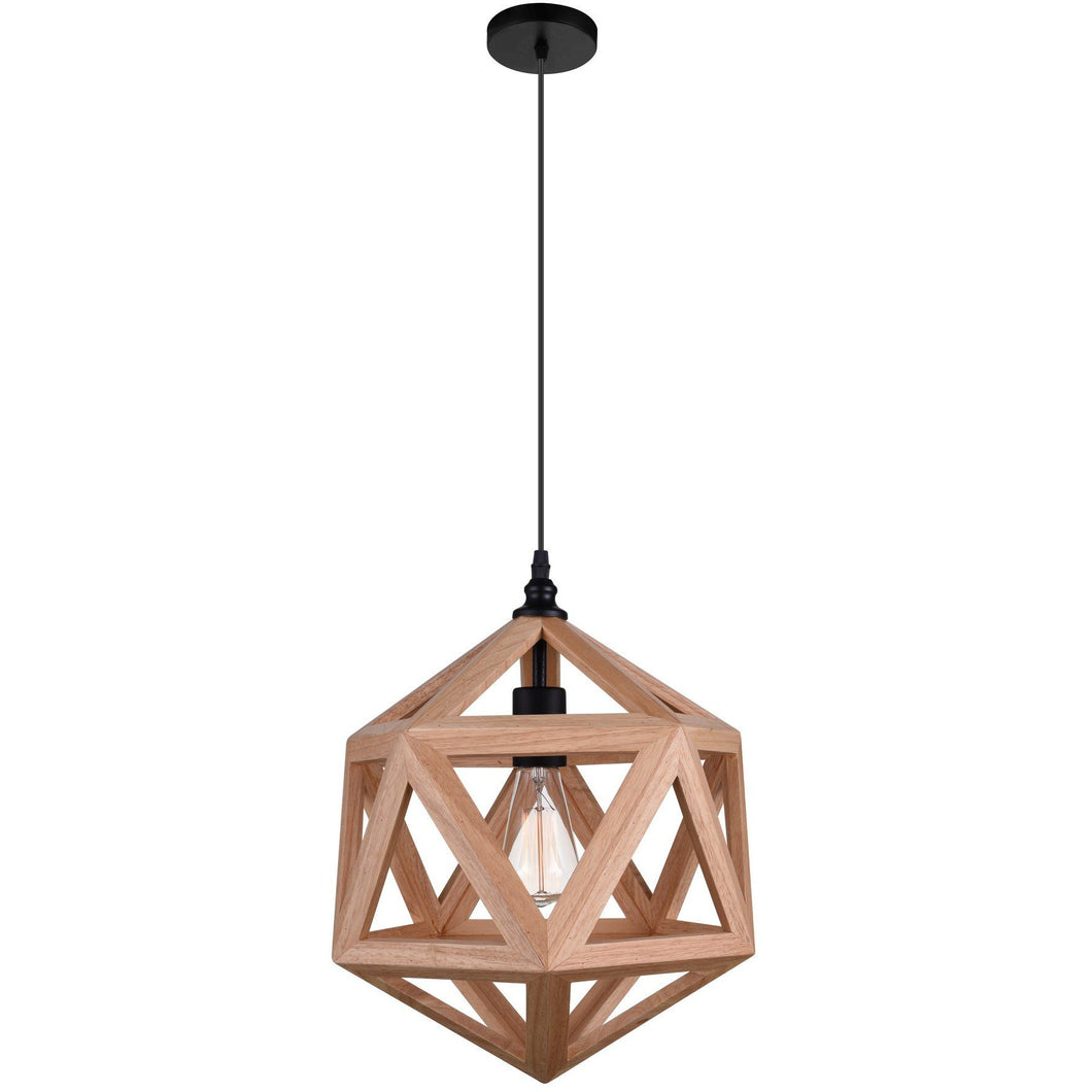 Geometric Pendant Light 1 E27 Light, Brown