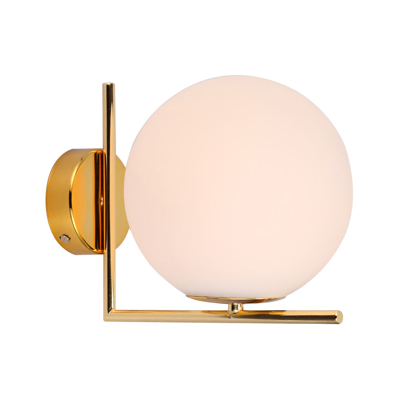 Golden Milk White Ball Wall Lamp