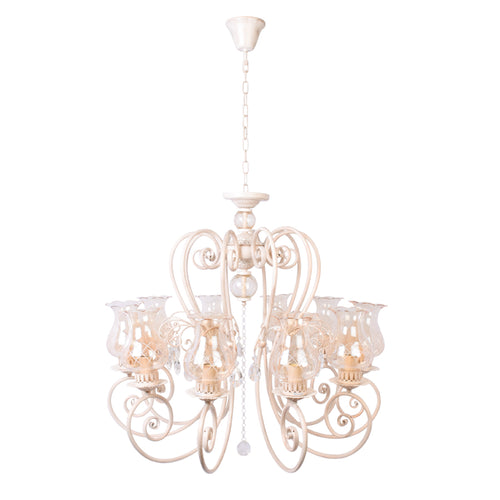 Ivory Elegant Chandelier With Glass Shades - 10 Light-Starry Night
