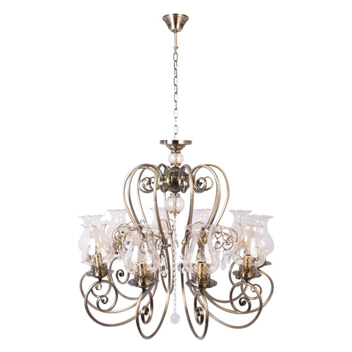 Bronze Elegant Chandelier With Glass Shades - 10 Light-Starry Night