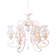 Load image into Gallery viewer, Ivory Elegant Chandelier With Glass Shades - 6 Light-Starry Night