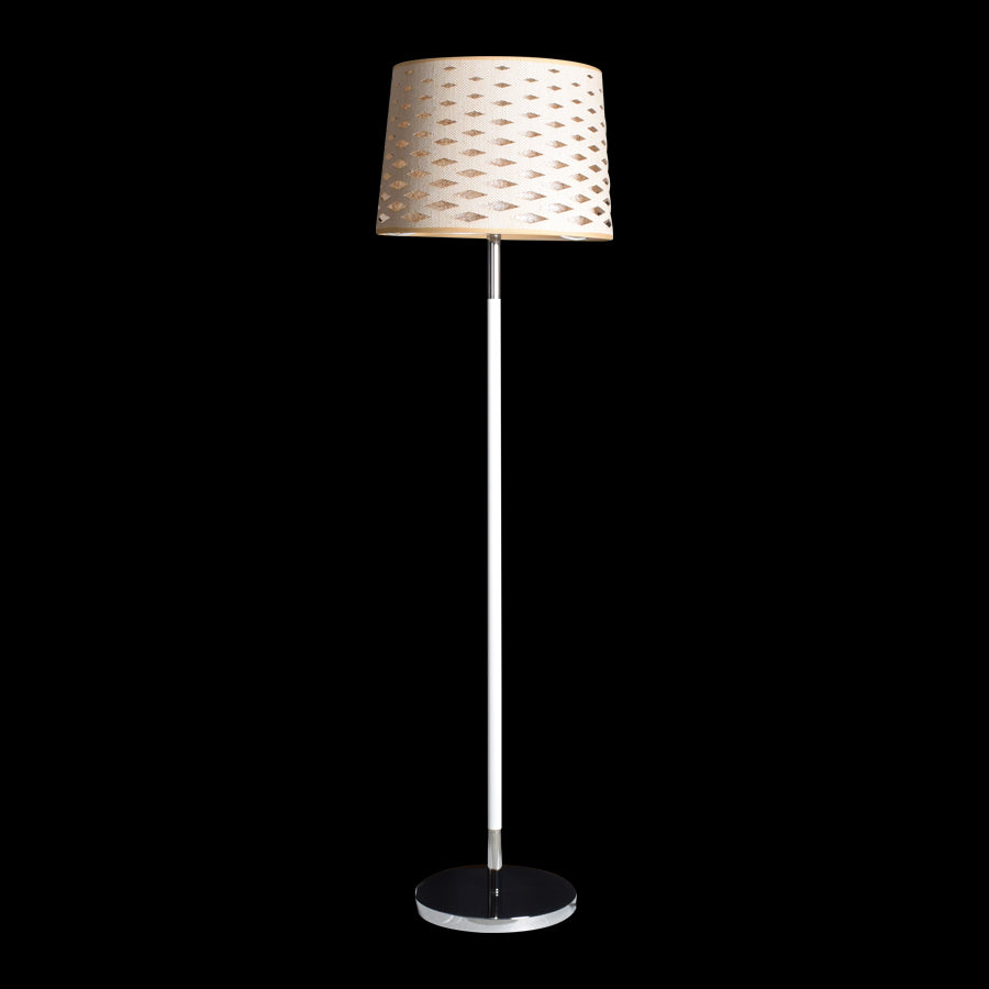 White Floor Lamp with Diamond Cut Shade