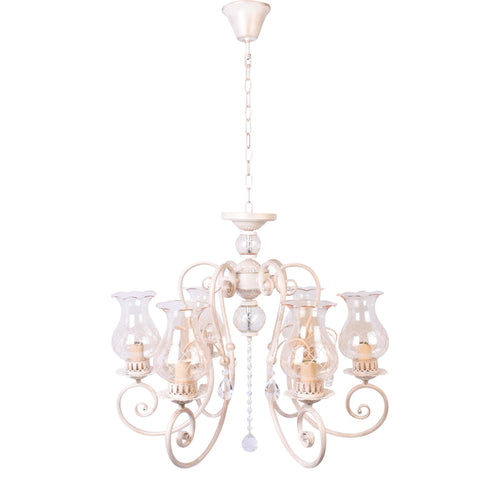 Ivory Elegant Chandelier With Glass Shades - 6 Light-Starry Night