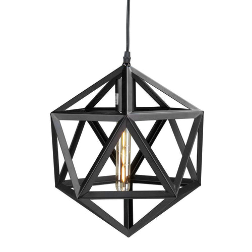 Geometric Pendant Light 1 E27 Light, Black