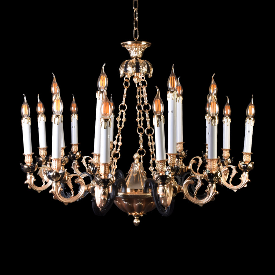 Gold Chandelier With Black Arms - 12 Light-Starry Night