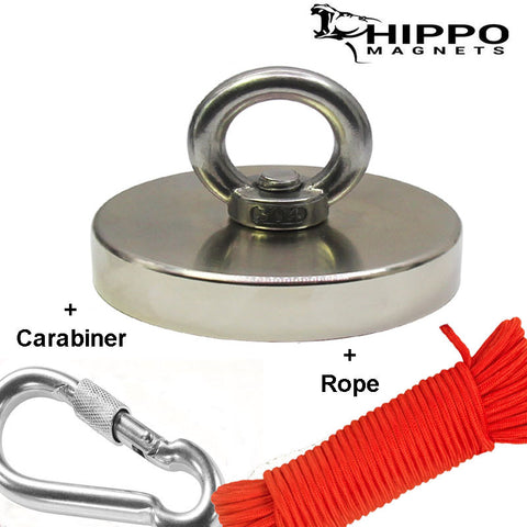 Fishing Magnet Kit - 1200 lbs Fishing Magnet, Rope and Carabiner