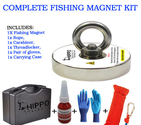 Complete Fishing Magnet Kit - 1500 lbs Fishing Magnet, Rope, Carabiner, Gloves, Case & Threadlocker