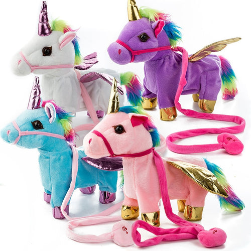 Electric Walking Unicorn Pet Plush Toy for Children Christmas Gift